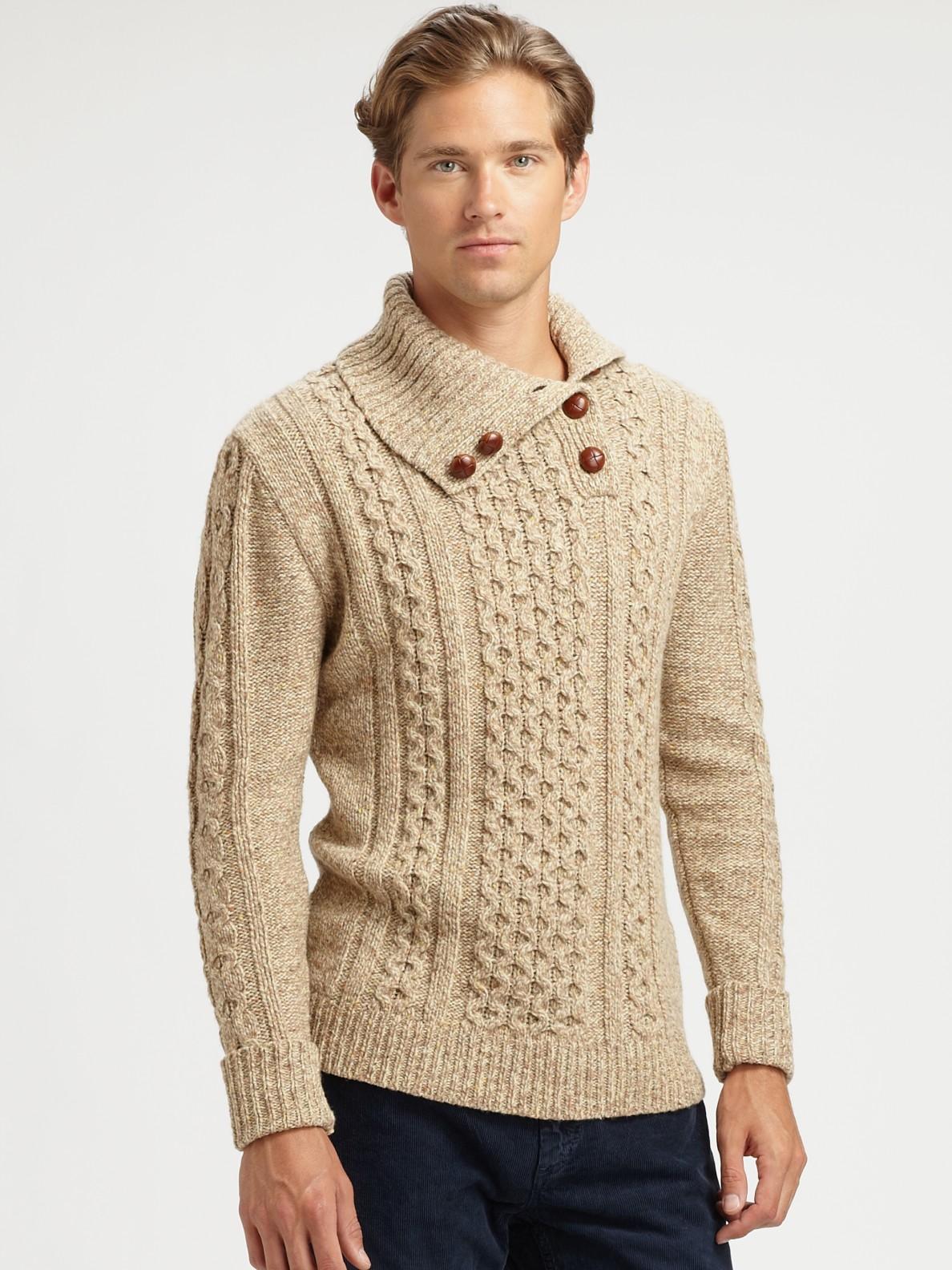 Gant rugger Buttonroller Turtleneck Sweater in Natural for Men | Lyst