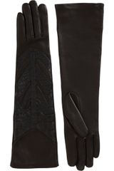 Givenchy Crocodile Embossed Leather Gloves in Black - Lyst