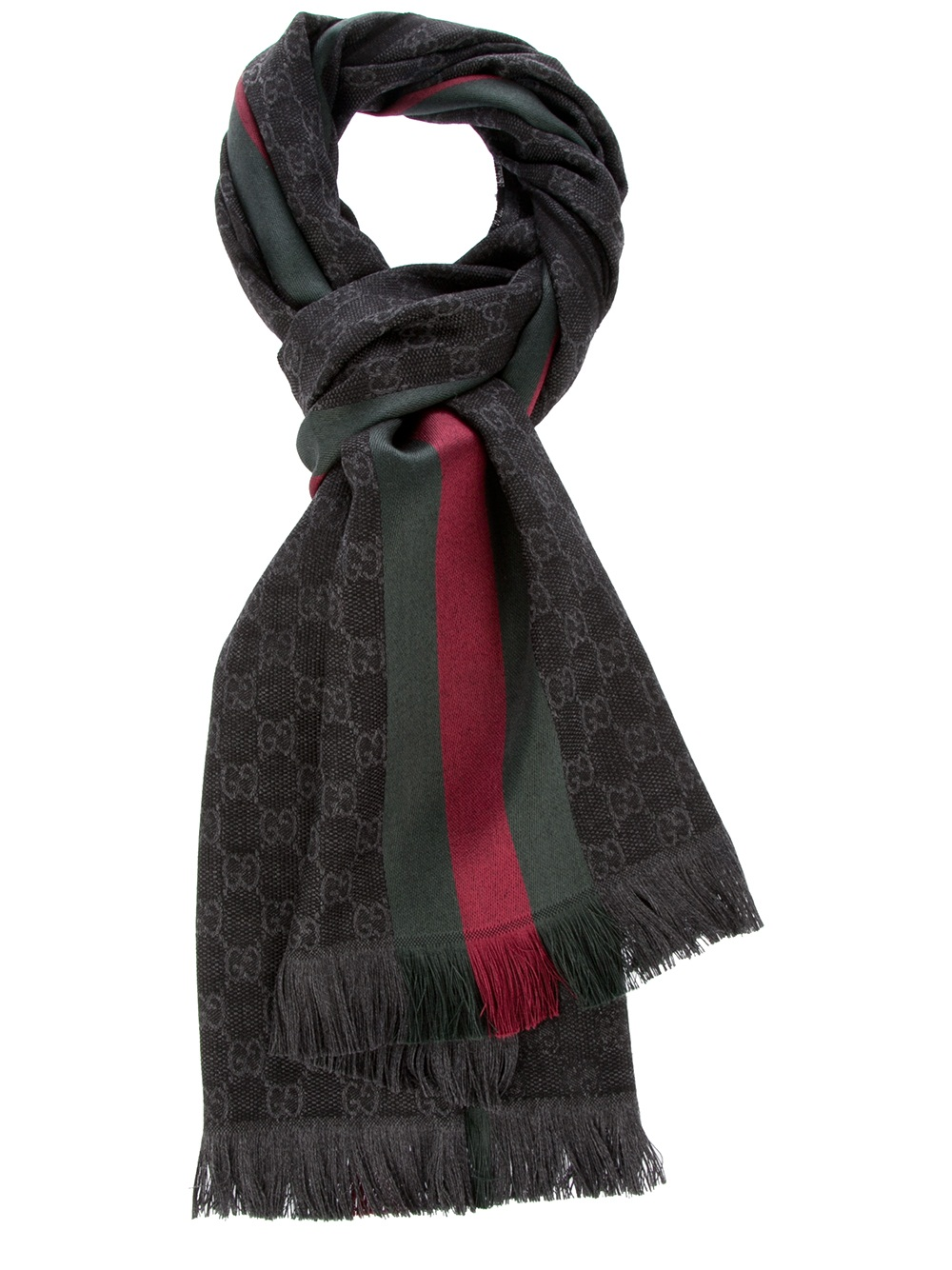 gucci print scarf in black for lyst
