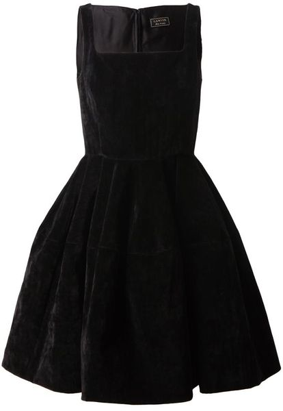 Lanvin Structured Velvet Dress in Black - Lyst