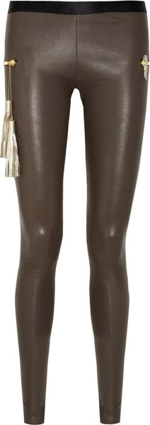 Les Chiffoniers Zip-Embellished Stretch Leather Leggings - Lyst