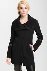 Mackage Knit Leather Trim Coat - Lyst