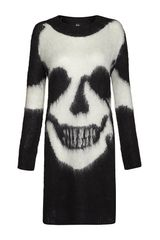 Mcq By Alexander Mcqueen Mohair Skull Tunic Sweater in Black - Lyst