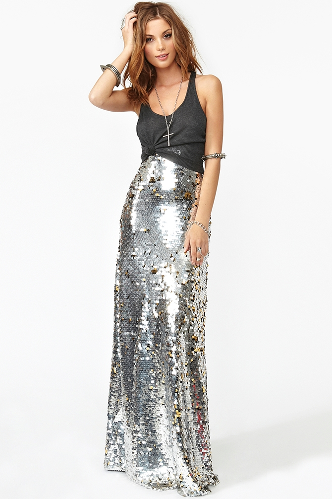 Nasty gal Gina Sequin Maxi Skirt in Metallic | Lyst