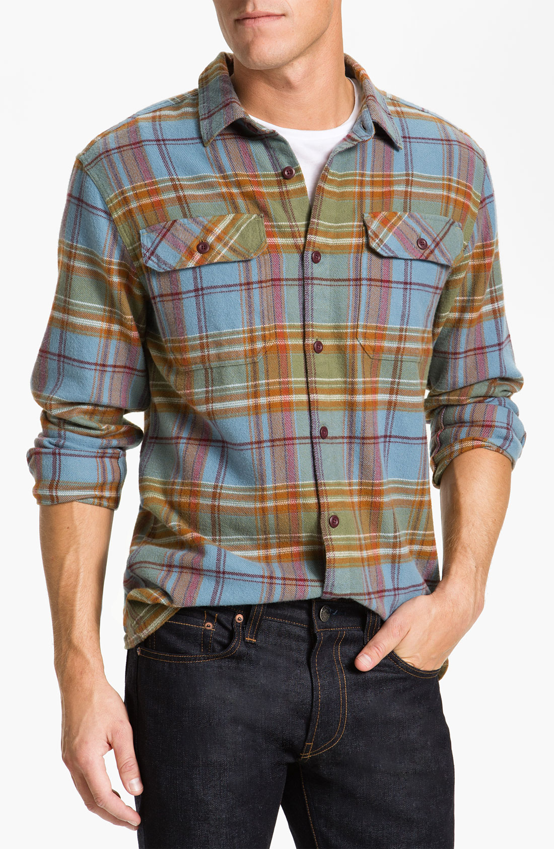 patagonia fjord organic cotton flannel shirt in blue for