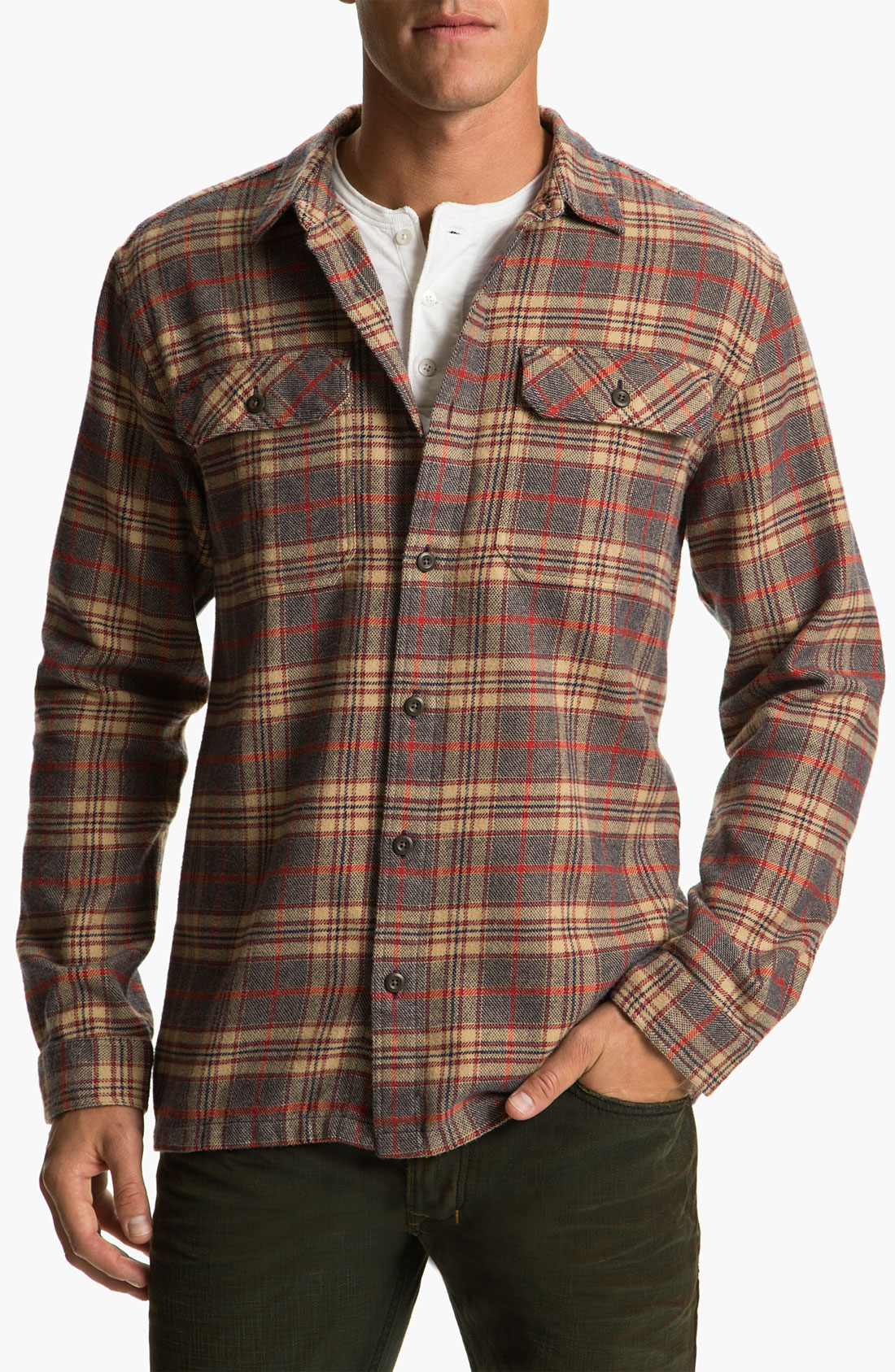 patagonia fjord organic cotton flannel shirt in brown for