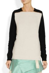 Proenza Schouler Merino Wool and CottonBlend Waffle Knit Sweater in Beige (cream) - Lyst