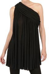 Rick Owens Draped Viscose Silk Jersey Top - Lyst
