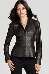 T Tahari Mona Long Sleeve Leather Jacket - Lyst