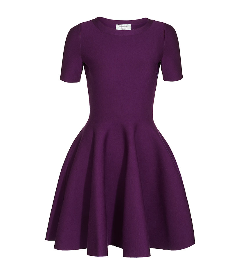 Saint Laurent Fit And Flare Dress In Purple Berry Lyst