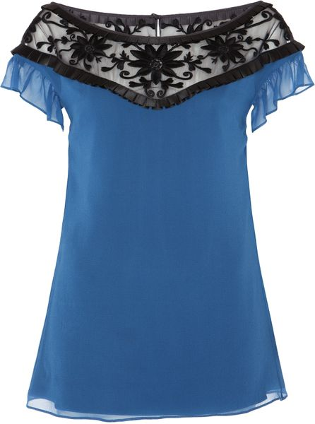 Alice By Temperley Vanessa Top in Blue (blue/black) - Lyst