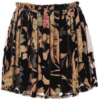Almost Famous Floral Velvet Mini Skirt - Lyst