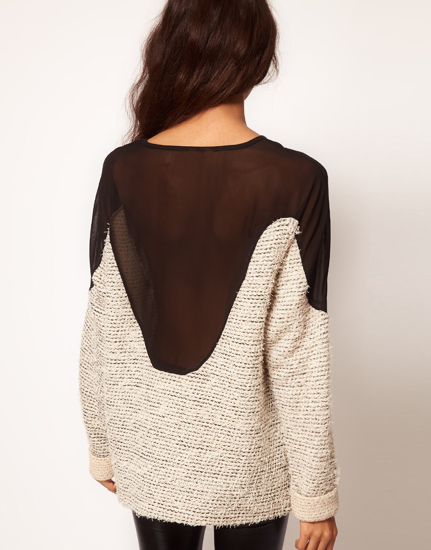 Lyst Asos Collection Sweatshirt In Texture With Sheer