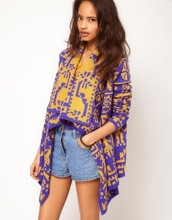 ASOS Collection Asos Blanket Wrap Cardi in Vintage Pattern - Lyst