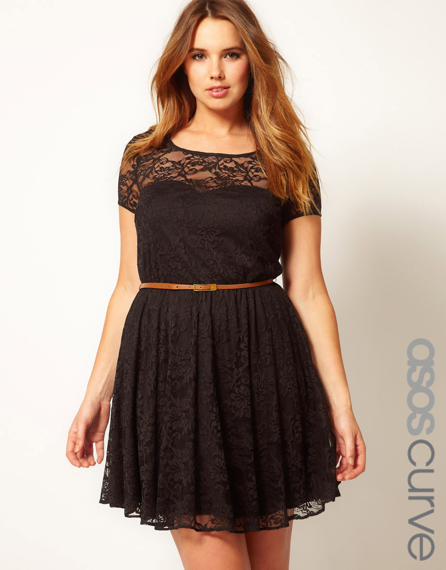 asos curve lace skater dress with belt in black lyst