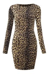 Ax Paris Animal Print Long Sleeve Dress - Lyst