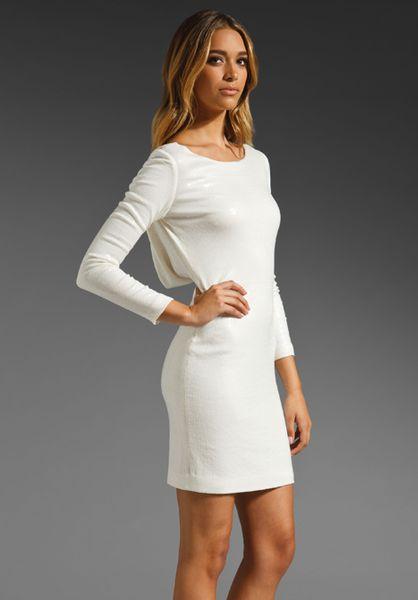 jay godfrey gartner sequin long sleeve low back dress in
