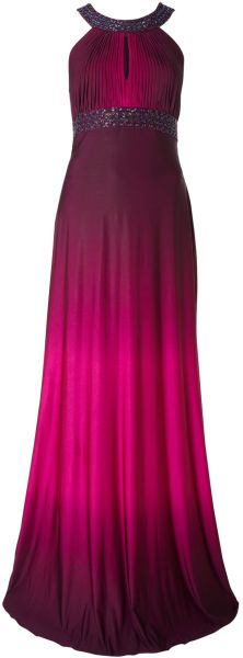 Js Collections Ombre Jersey Dress with Beaded Neck in Purple (magenta)