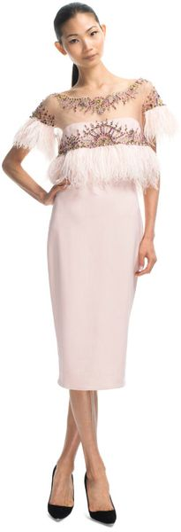 Marchesa Resort Stretch Crepe Embroidered Cocktail Dress in Pink (shell pink)