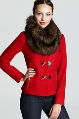 Michael Kors Michael Short Toggle Jacket with Faux Fur Collar - Lyst