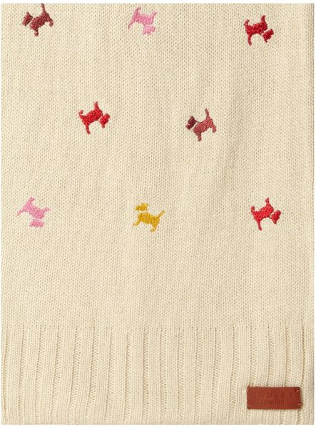 Radley Dog Knitting Pattern : Radley Cecile Embroidered Dog Knitted Scarf in White Lyst