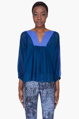 See By Chloé Blue Combo Silk Blouse - Lyst