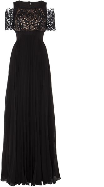 Temperley London Long Catherine Dress in Black (black/champagne) - Lyst