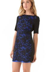 Tibi Lace Short Sleeve Dress in Blue (cobalt) - Lyst