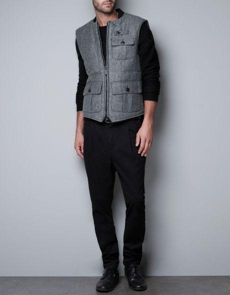 Zara Herringbone Waistcoat in Gray for Men (grey)