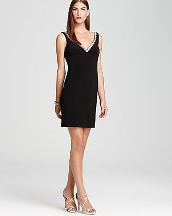 Basix Dress V Neck Jeweled - Lyst