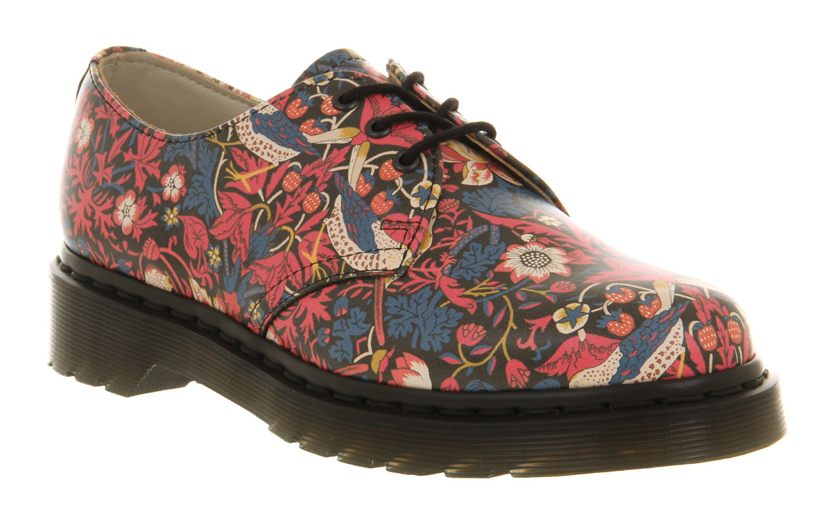 Dr. Martens Liberty 3 Eye Shoe Navy Cherry Red Lea Floral in Brown ... d7fccf38be10