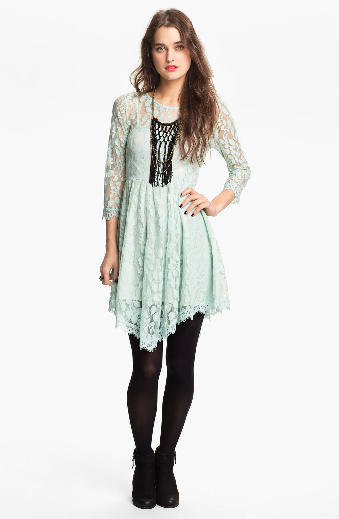 Free People Handkerchief Hem Lace Dress in Blue (pale mint ...