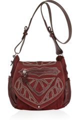 Isabel Marant Ballwin Embroidered Leather and Suede Shoulder Bag in Red - Lyst