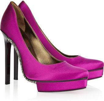 Lanvin Crystal-Embellished Satin Pumps - Lyst