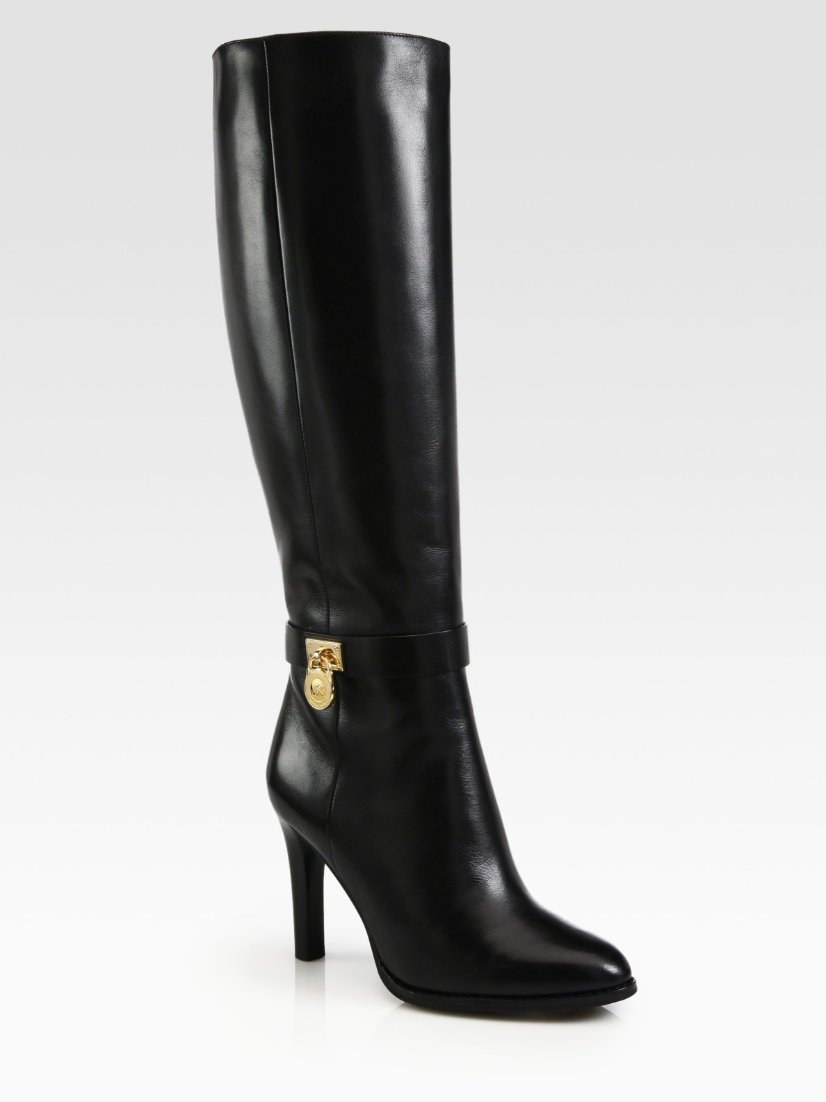 Michael By Michael Kors Hamilton Leather Boots Black on Color Learn Rain