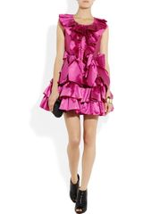 Moschino Ruffled Silkmikado Mini Dress in Pink (fuchsia) - Lyst