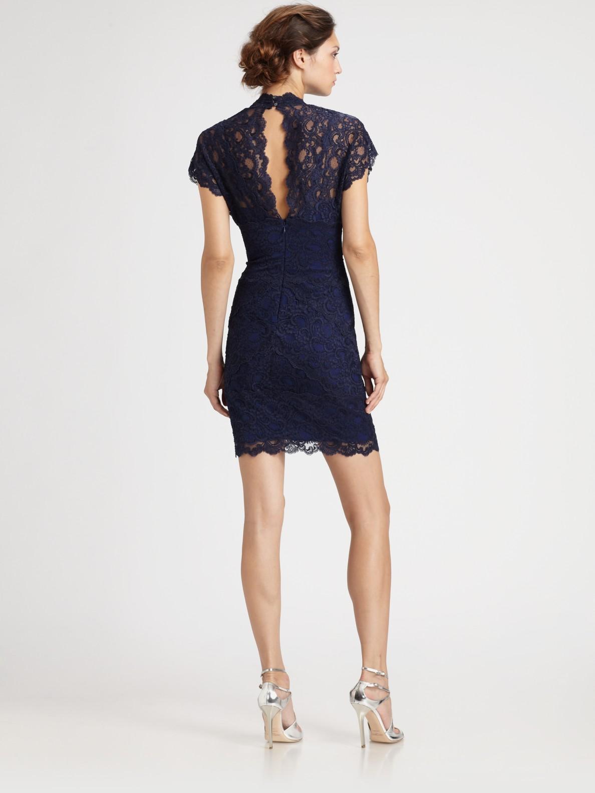 Nicole Miller Lace Dress In Blue Lyst