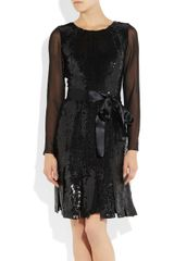 Oscar De La Renta Sequined Silkgeorgette and Silkchiffon Dress in Black - Lyst