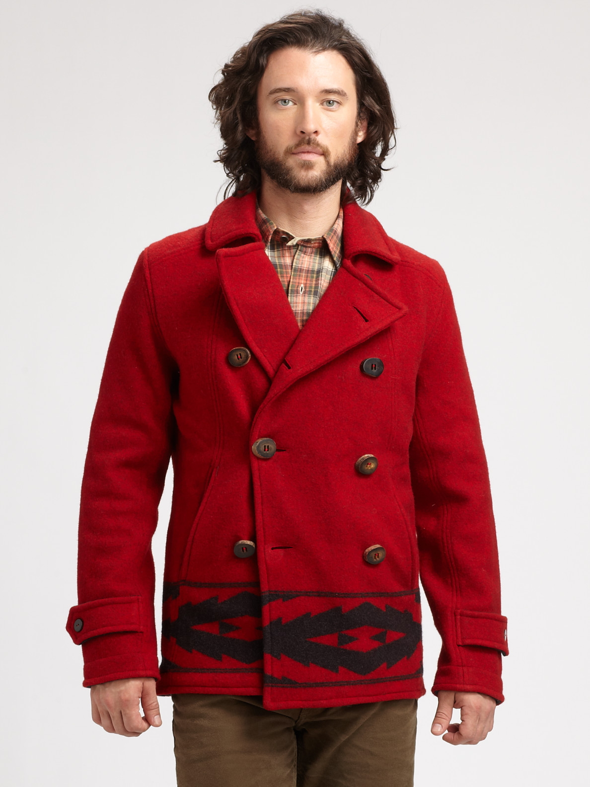 Polo ralph lauren Double Breasted Wool Jacket in Red for Men | Lyst