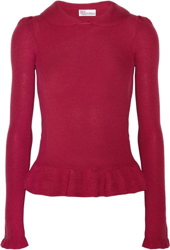 RED Valentino Ribbed Knit Wool Top - Lyst
