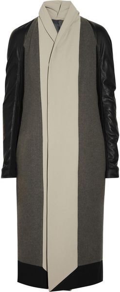 Rick Owens Leather and Crepe-trimmed Wool Coat - Lyst