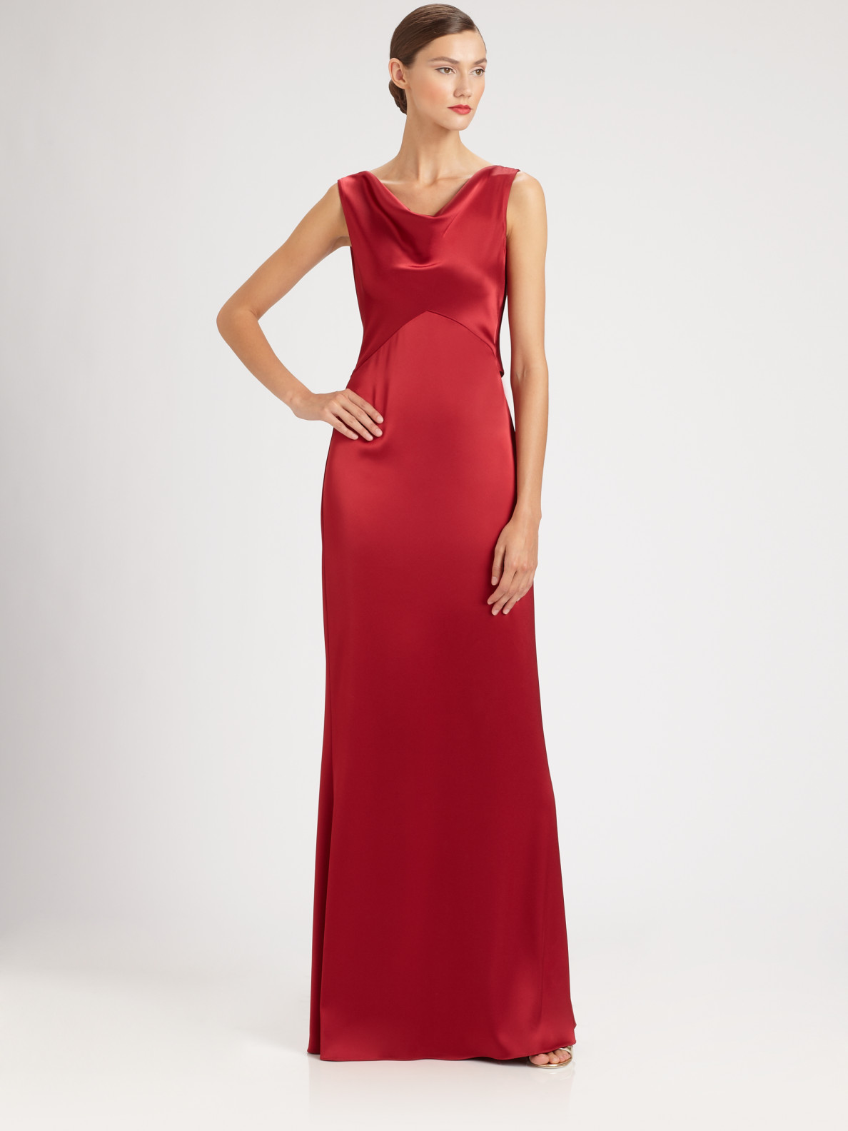 St. john Liquid Satin Gown in Red