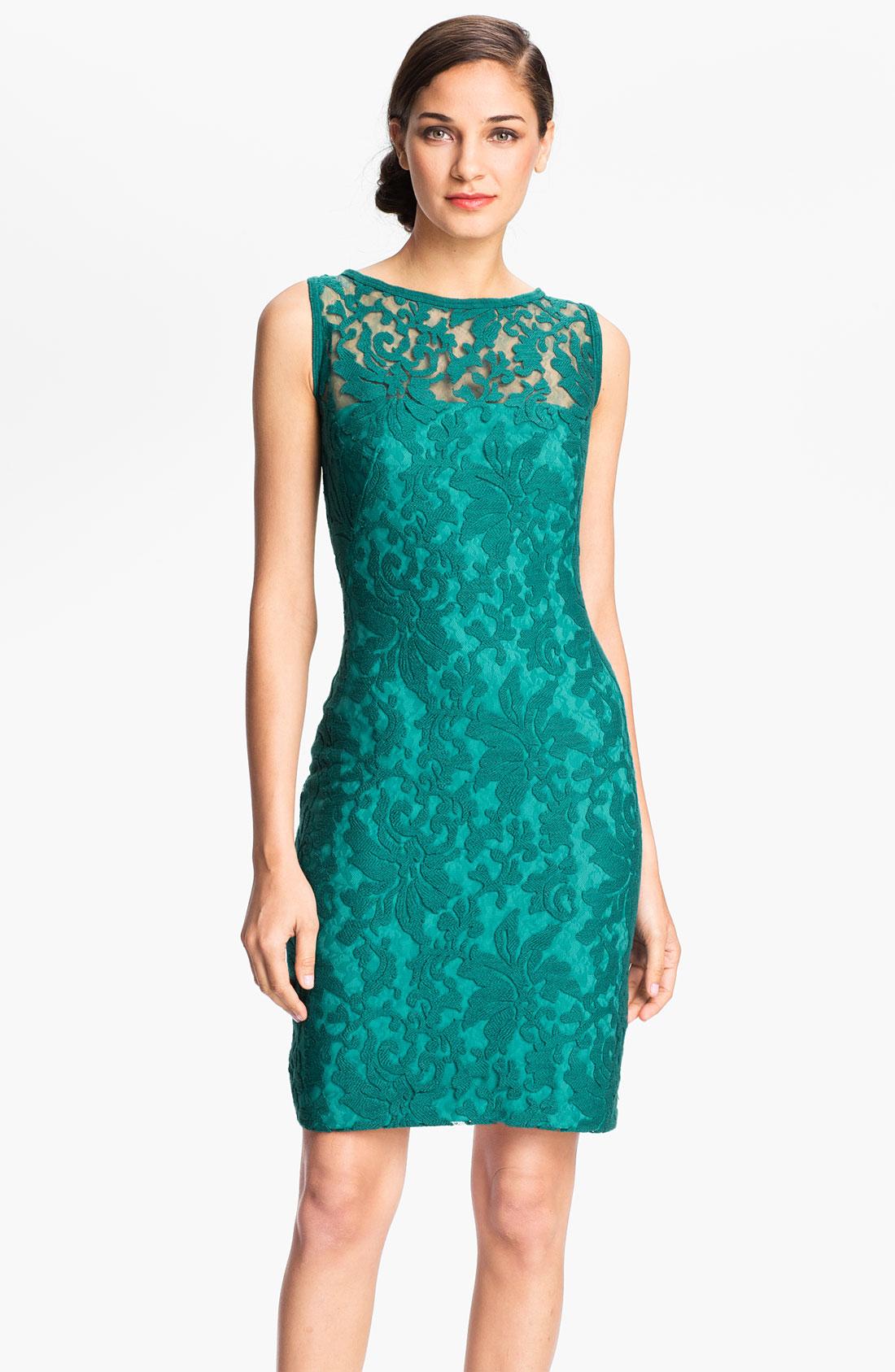 Tadashi Shoji Illusion Yoke Crochet Lace Sheath Dress in