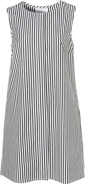 Topshop Striped Cotton Dress By Jw Anderson For Topshop in Black - Lyst