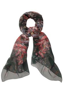Alexander McQueen Black Painted Flowers Circle Skull Silk Scarf - Lyst