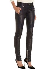 Balmain Leather Moto Pants in Black - Lyst