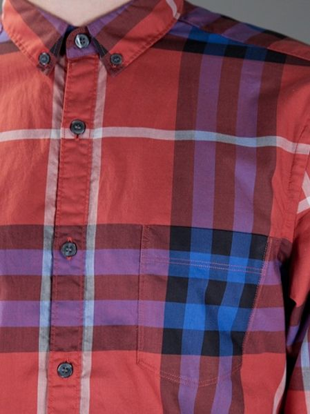 Burberry brit plaid shirt in red for men lyst for Burberry brit plaid shirt