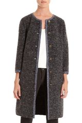 Dolce & Gabbana ThreeQuarter Sleeve Boucle Coat in Gray (gold) - Lyst