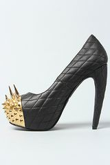 Jeffrey Campbell The Battle Shoe in Black Quilt and Gold in Black - Lyst