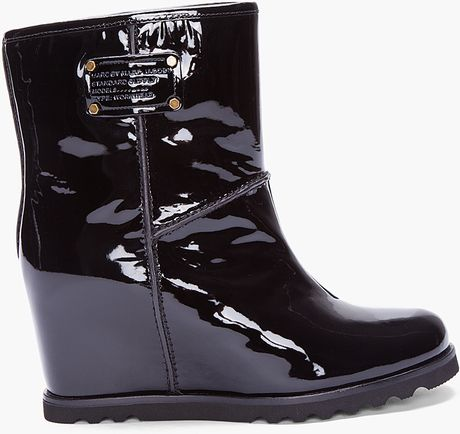 marc by marc black patent wedge snow boots in black